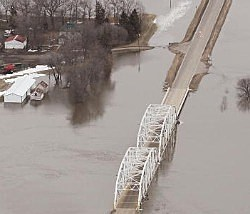 A flooded road along the Red River near Fargo in March of 2010.