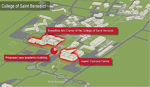 Map of the new College of St. Benedict Academic Building