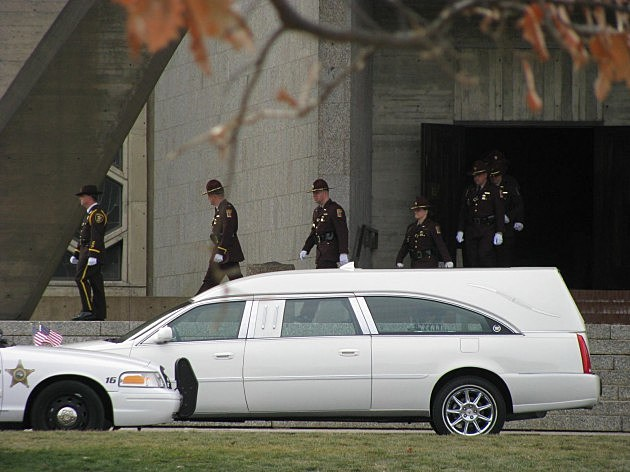 Hundreds of law enforcement officers attend funeral services for slain Cold Spring Policeman Tom Decker