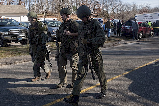 Police at the Newtown, CT School Shooting, Dec. 14, 2012
