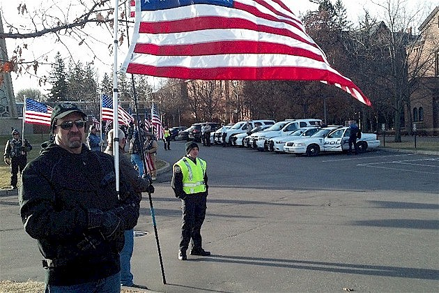 Patriot Guard at St. John's Abbey Church for Officer Tom Decker's Funeral