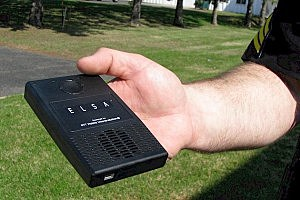 A close-up of the ELSA police translation device.