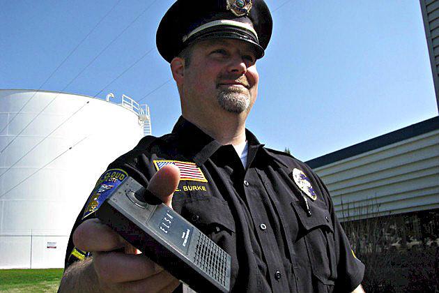 St. Cloud Police Officer Burke displaying the ELSA translator