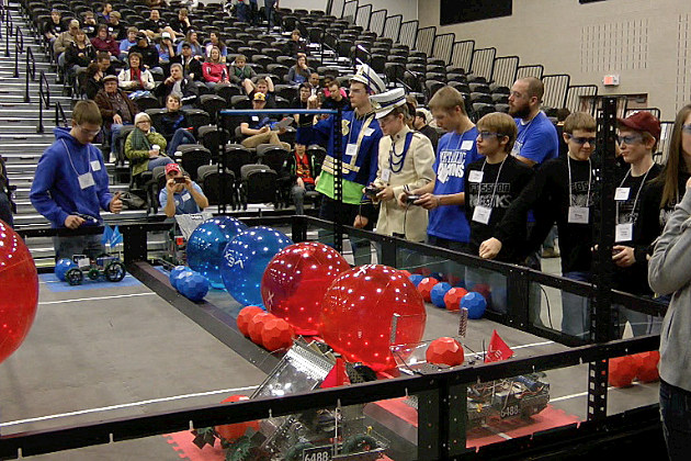 Students put their robots to work during the Vex Robotics Competition