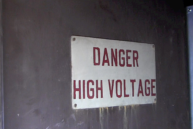 High Voltage sign in the SCSU tunnel system