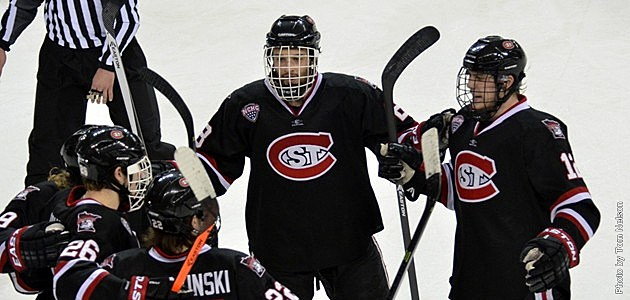 Huskies score a goal against Miami University
