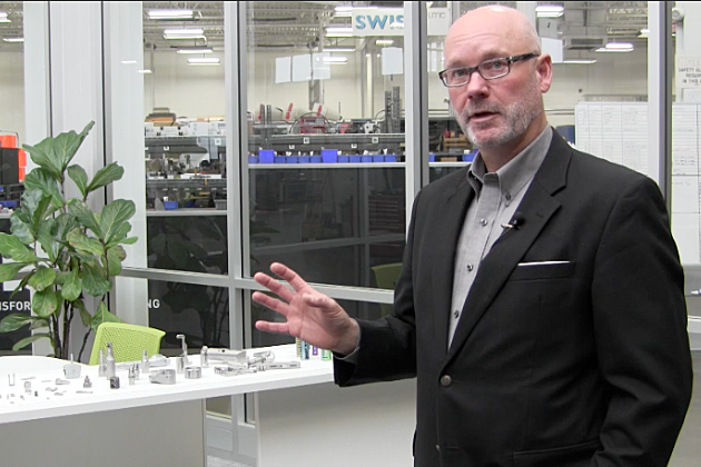 UMC President Eric Gibson talks about the products they make. (Photo: Alex Svejkovsky, WJON)