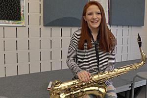 Annabel Kelly after a recent band practice. (Dan DeBaun, WJON)