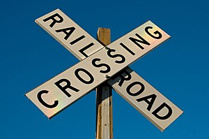 Railroad Crossing Sign with Rainbow lighting