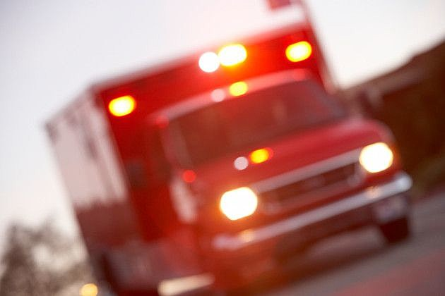 Defocused shot of ambulance on a city street