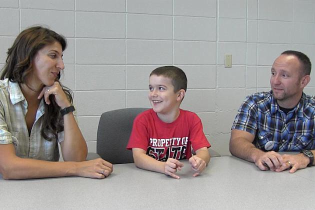 Kat, Jackson and Josh Stewart share a smile. (Photo: Alex Svejkovsky, WJON)