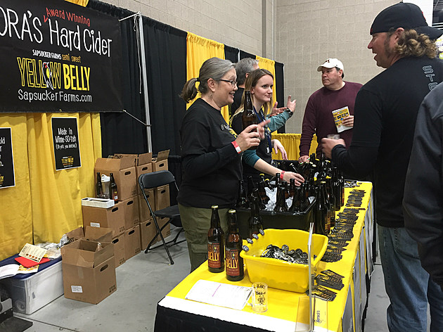 by Justin LaBounty Debbis Morrison at the Yellow Belly Cider booth at The St. Cloud Beer Tour