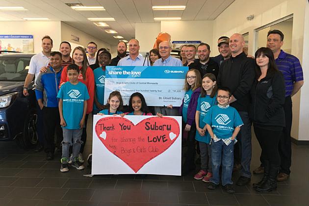 St. Cloud Subaru President Scott Bement presents donation check to Boys and Girls Club of Central MN (Chrissy Gaetke, WJON)