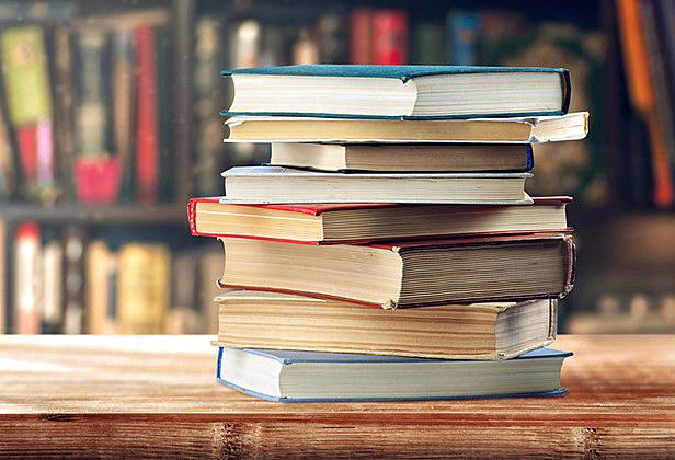 stack of books, bookshelves